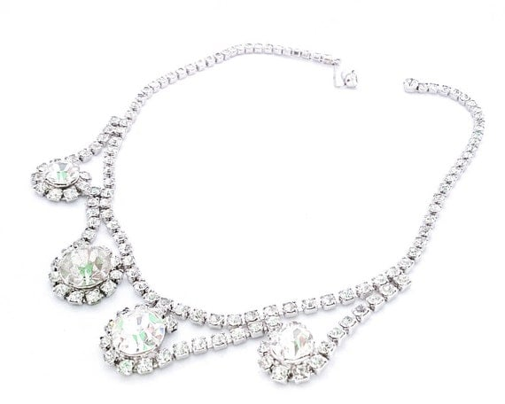 Vintage clear white rhinestone necklace choker