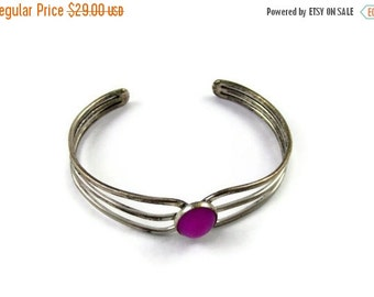 ON SALE Tribal Style Silver Bangle Bracelet with Raspberry Magenta Center Stone