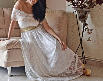 Bohemian Wedding Dress, Ivory Gown, Lace Wedding Gown, Long  Gown, Bohemian Dress, Βοhο Bridal Dress, Strapless Bridal Gown, Handmade Gown