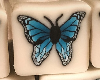Turquoise butterfly cane, complex cane, polymer clay cane