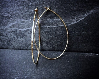 Textured Teardrop Hoop Earrings / Bohemian Jewelry/ Artisan Hoops / 14k Gold Earrings / Sterling Silver / Rose Gold Hoops /Hammered Hoops