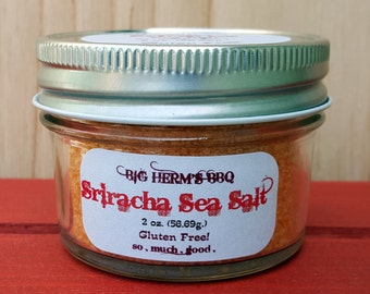 Sriracha Sea Salt by Big Herm's BBQ, barbeque, gourmet & hostess gifting, smoker, bbqing, sriracha, rooster sauce, Huy Fong
