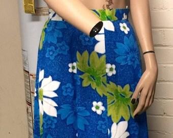 1970's Vintage Cotton Hawaiian Maxi Skirt with Matching Halter Top