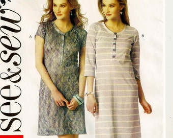 A Pullover, Buttoned Neck/Front Band, Fitted T-Shirt Dress Pattern for Women: Uncut - Sizes XS-XXL (4 thru 26) ~ See & Sew 6041