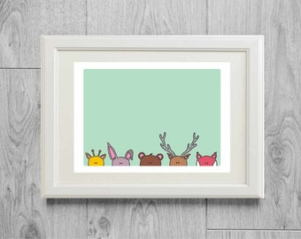 Animals ears print - Zoo print - Animal print - Kid's room wall art - Art print for children - Nursery art print - printed on matte paper