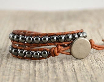 Simple beaded wrap bracelet. Double wrap grey and brown. Hematite jewelry