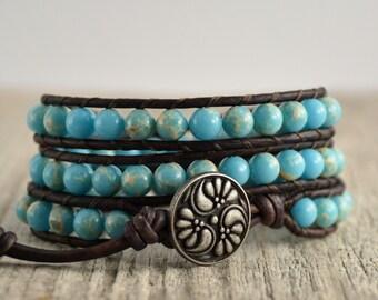 Sky blue beaded boho bracelet. Bohemian chic jewelry