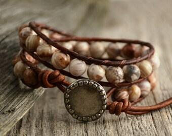 Hippie style beaded bracelet. Brown earth tone jewelry