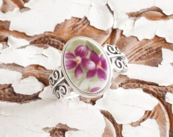 Broken China Jewelry. Broken China Ring, Purple Violet Ring, Sterling Silver Size 8
