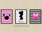 Minnie Mouse Silhouette Room Decor - Nursery Pictures - Pink Chevron Custom Name Printable Wall Art 8x10 Set of 3