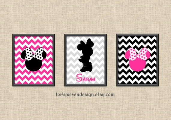 minnie mouse silhouette room decor nursery pictures pink chevron
