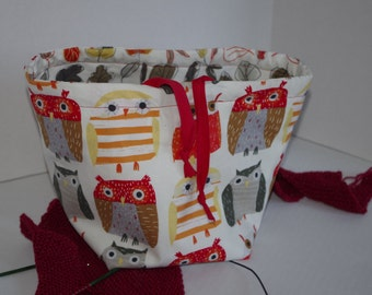 Owls and Leaves Reversible Medium Sized Project Bag