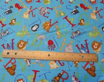Blue Henry Glass Animal ABC Cotton Fabric by the Yard
