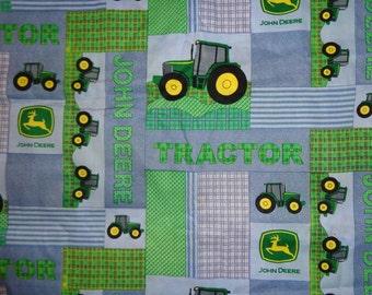 Blue /Green John Deere Blocked Cotton Fabric by the Yard