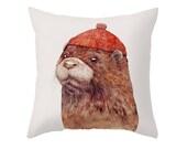 Otter Throw Pillow, Animal Pillow, Animal Decor, Kids Room Decor, Otter Decor, Cushion Cover, Animal Cushion, Otter Cushion