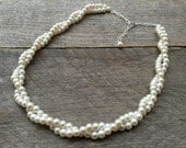 MEMORIAL DAY SALE Cream Ivory Pearl Necklace Bridal Necklace Twisted Clusters on Silver or Gold Chain