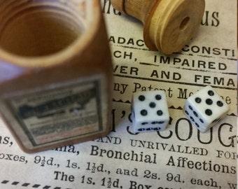 Miniature Vintage Wooden Cointreau Bottle with Bone Dice