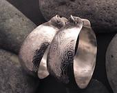 Large sterling silver hoop earrings, original, delicate raised textured design, abstract vines flowers leaves, hinged ear wire