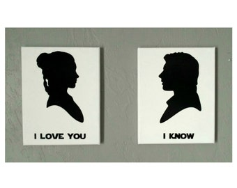 Custom - Star Wars canvas wall art in your choice of color (Princess Leia, Han Solo, I love you, I know, vinyl, acrylic paint, 8x10)