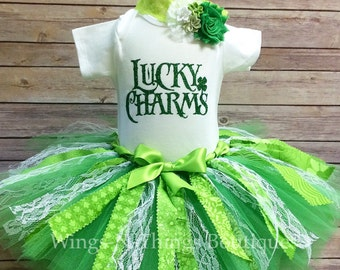 LUCKY CHARMS OUTFIT, St Patricks Day Fabric Tutu Skirt 3pc Set w/ Bodysuit, Shabby Flower Headband, Lace, Green,Toddler, Baby, Girl