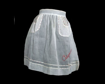 Vintage 1950s Apron Sheer California Souvenir Party Apron White Organdy Red Polka Dot Pockets