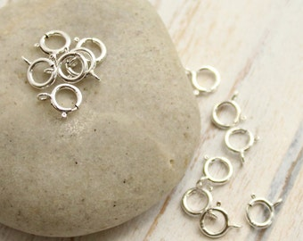Sterling Silver Spring Ring Clasps -- 6mm Closed -- 10 or 25 pieces