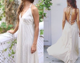 NANDA Long boho dress, boho dress, bridesmaid dress, open back dress, maxi dress, summer dress, adjustable dress, flow dress.