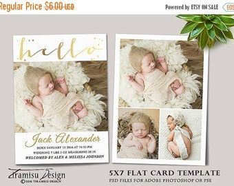 SALE Birth Announcement Template, Photography Photoshop 5x7in Card Template, sku 16-3