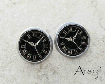 Glass dome clock earrings, vintage clock earrings, clock earrings, clock stud earrings, black clock earrings, clock jewelry, HG131E