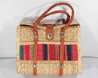 Vintage 70's Multi color Wicker Tote Bag