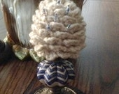 Pine Cone Pin Keep, Pin Cushion, Make-Do, and Home Decor ~ (Ceramic Base ~ Blue and White Chevron Pattern)