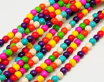 "16"" STRAND Multicolor Turquoise Round Beads 6mm"
