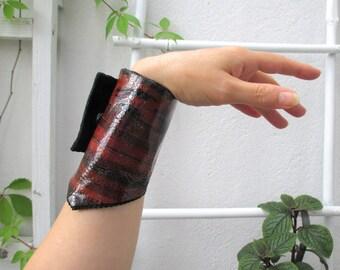 sale CLARET - black leather bracelet cuff bracelet