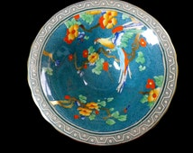 Art deco fruit bowl, Losol Ware, Andes pattern, Macaw parrot, hand-painted flowers, Keeling and Co, 1920s or 30s
