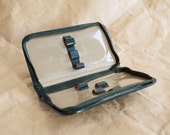 manicure case. Imitation leather travelRetro Folding Travel Mirror. Square and Round. Brown Faux Leather.