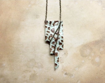 Mint Chocolate Chip Faux Croc Leather Chain Statement Necklace | Handmade Fashion Statement Jewelry | Summer Outdoors