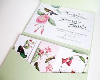 Tropical Hummingbird Pocketfold Wedding Invitation Suite, Set including Invite, RSVP, Menu, Details card and belly band