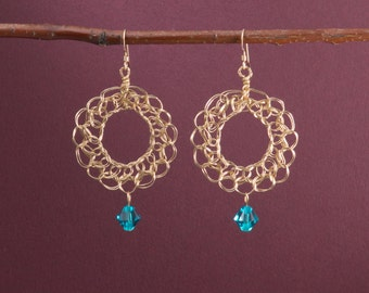 Gold filigree earrings / Blue zircon / 14k gold filled wire crochet jewelry / boho lace circles / December birthstone / GfcirEzirc1