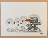 "Original, signed ""Wookiee the Chew"" drawing - ""There's One On My Tail!"" by James Hance"