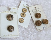Gold Toned Shank Buttons, Classic Vintage Buttons on original cards