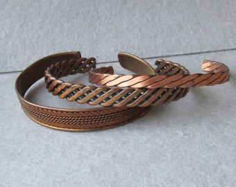 Lot of 3 Vintage 1960's Copper Cuff Bracelets
