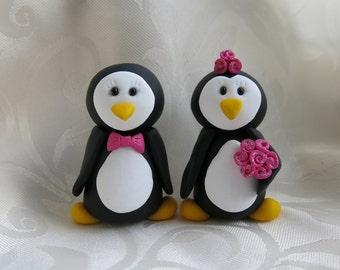 Penguin Bride & Groom Wedding Cake Toppers - Handmade to Order Choose Colours