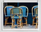 Paris photography - Paris cafe (blue) - Giclee Art Print,Home decor,Fine art photography,Paris decor,Art print,Art Poster,Gift idea,Wall art