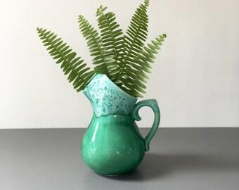 vintage aqua drip glaze pitcher vase retro ceramic