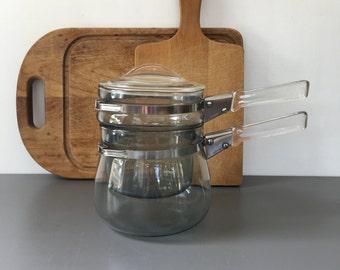 vintage 40s pyrex flameware double boiler 1 qt 6762 model