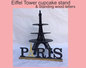 Eiffel Tower cupcake stand and standing letters PARIS
