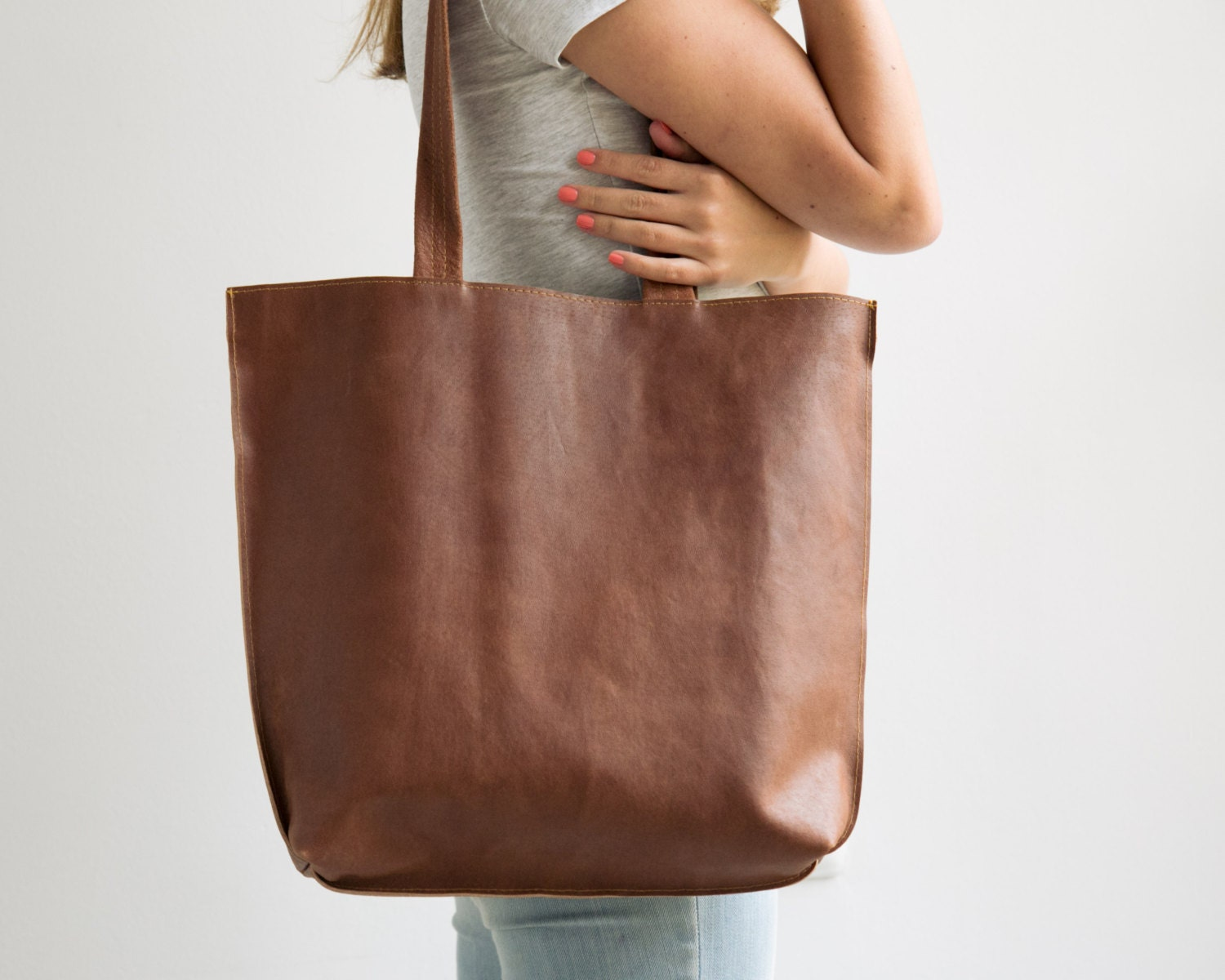 brown leather tote leather tote bag handmade leather by