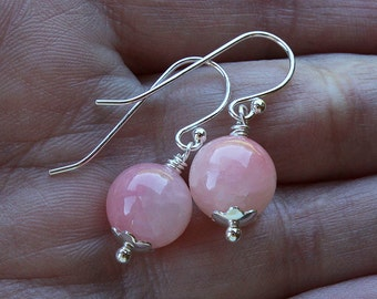 Pink earrings pink bead earrings pink stone earrings pink jewelry stone jewelry light pink earrings rose pastel silver drop dangle earrings
