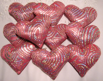 French Lavender Sachet Set - Heart Sachet Set - Home Fragrance - Gift for Women - 10 Hot Pink, Silver Heart French Lavender Drawer Sachets