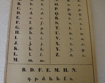 Reserved for Sandrine.Antique french school chart calligraphy print